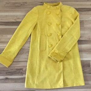 J Crew Yellow Linen Peacoat Jacket